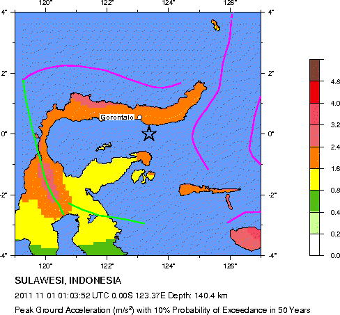 Usgs Earthquake Hazards Program Seismic Hazard Map Sulawesi Indonesia