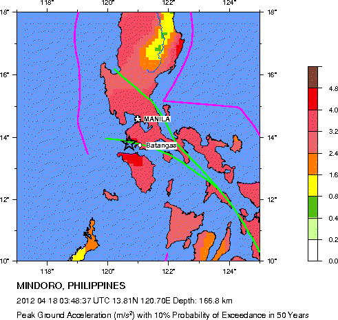 Usgs Earthquake Hazards Program Seismic Hazard Map Mindoro
